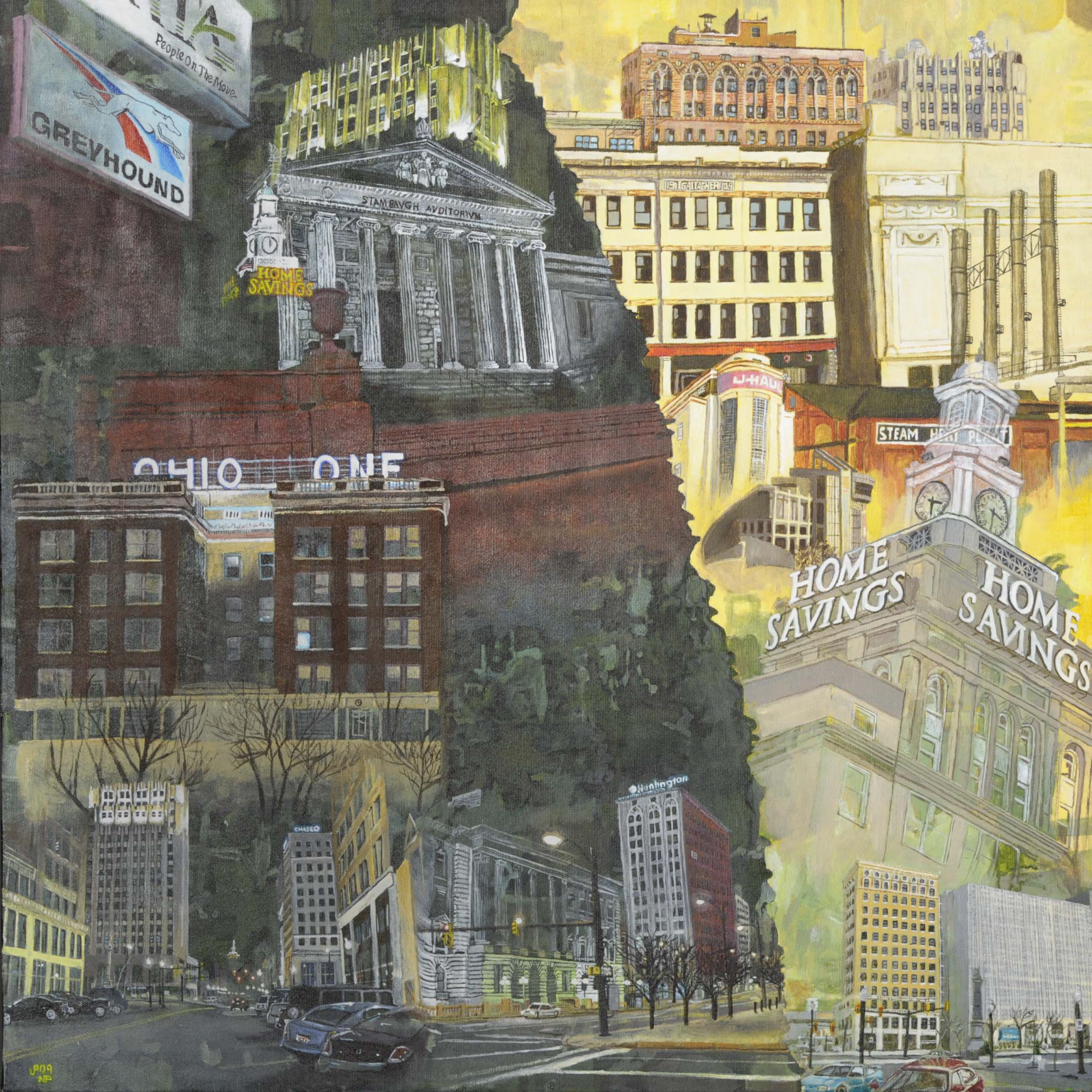 """Classic Youngstown-""""24x24"""" Acrylic Painting"""